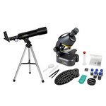 Bresser National Geographic Set: 50/360 AZ Telescope and 40x–640x Microscope